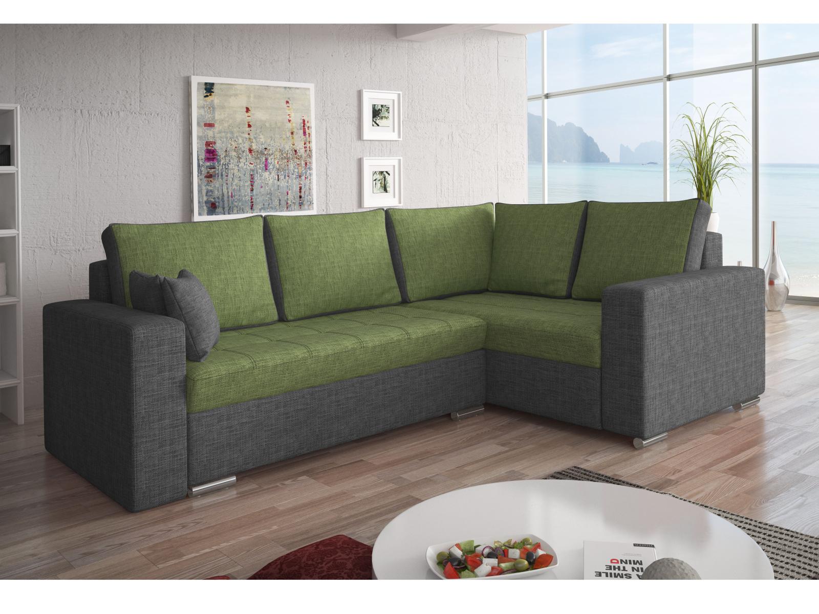Smartshop Rohová sedačka VALERIO BIS 8 pravá, zelená látka/šedá látka