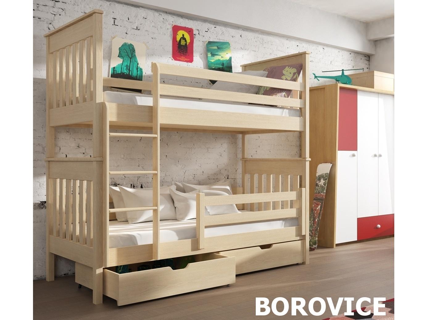 Smartshop Patrová postel BRUNO 90x200 cm, masiv borovice/barva:..