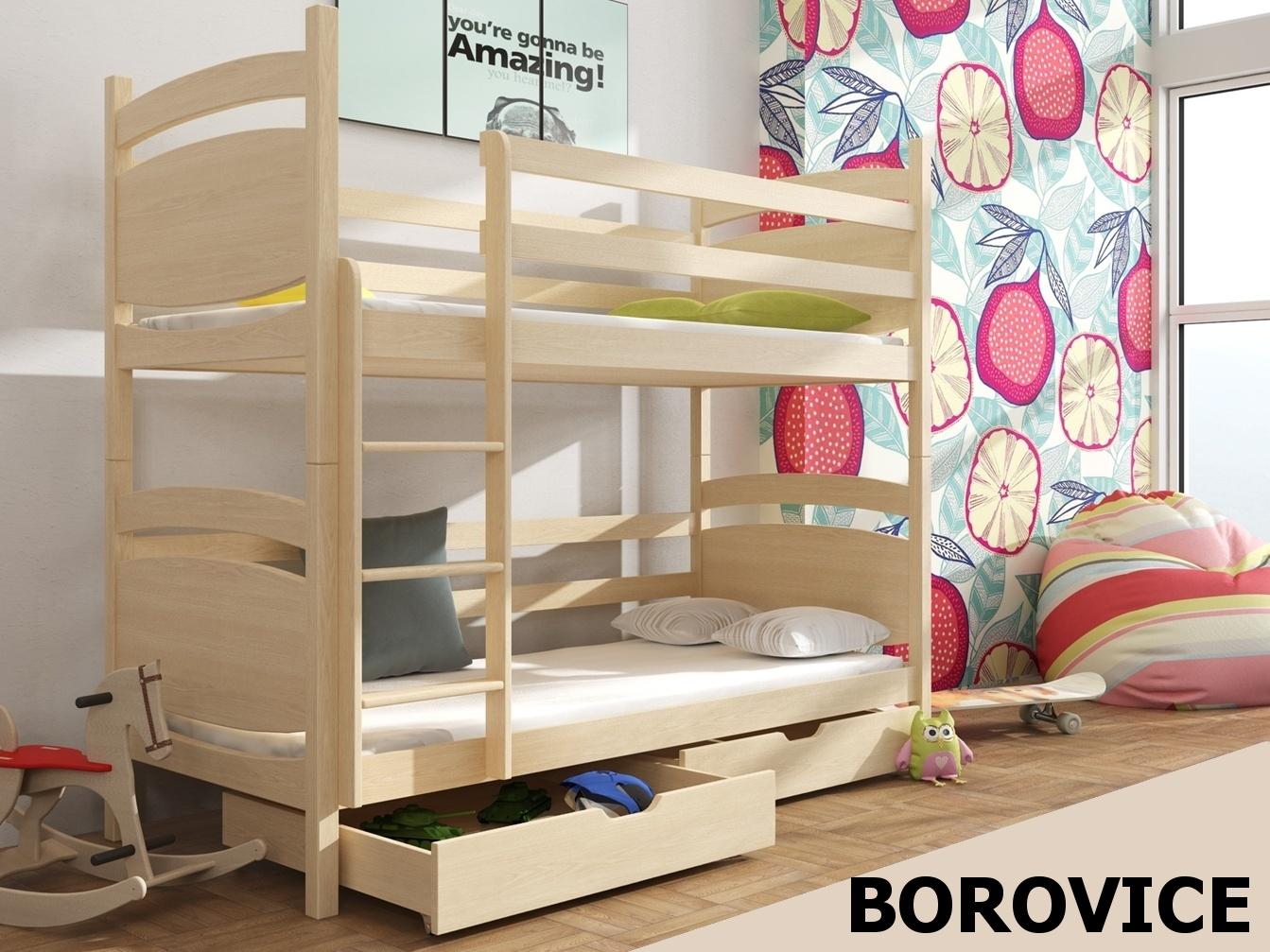 Smartshop Patrová postel MALGOSIA 90x200 cm, masiv borovice/barva:..