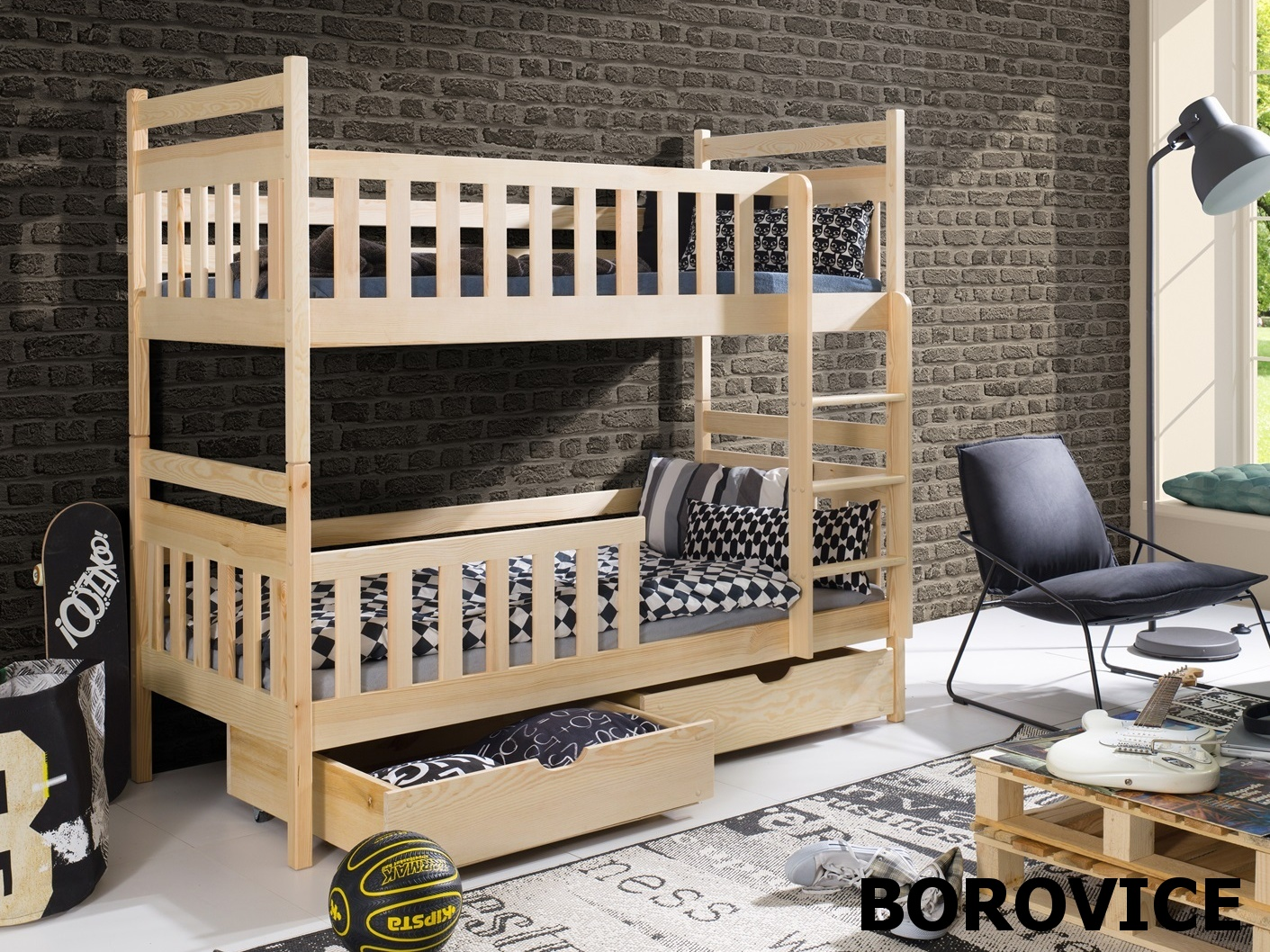 Smartshop Patrová postel MONIKA 90x200 cm, masiv borovice/barva:..