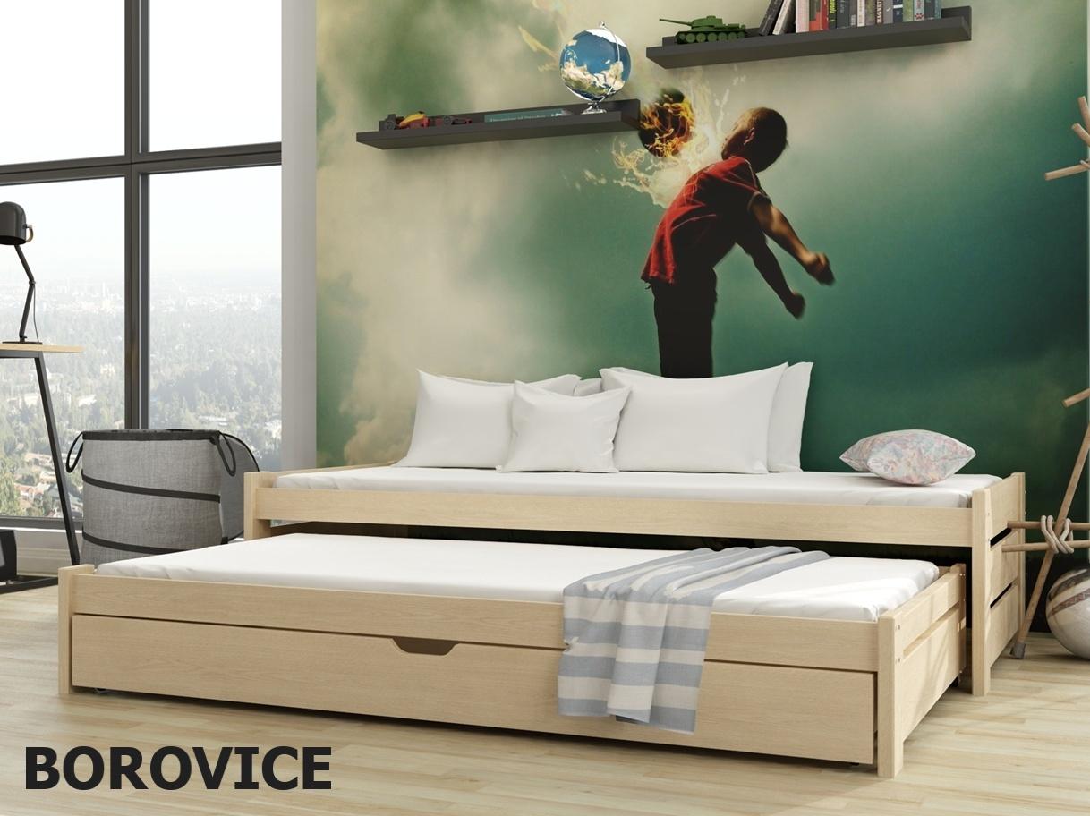 Postel s přistýlkou ANIS 90x200 cm, masiv borovice/barva:..