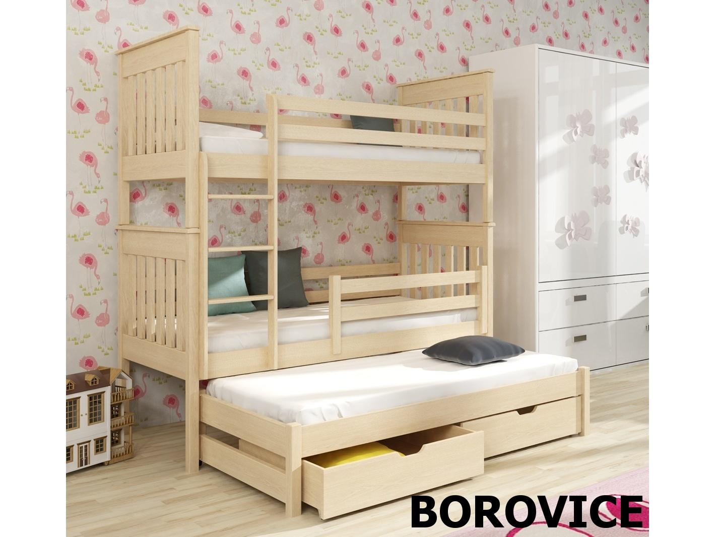 Smartshop Patrová postel s přistýlkou JAREK 90x200 cm, masiv borovice/barva:..