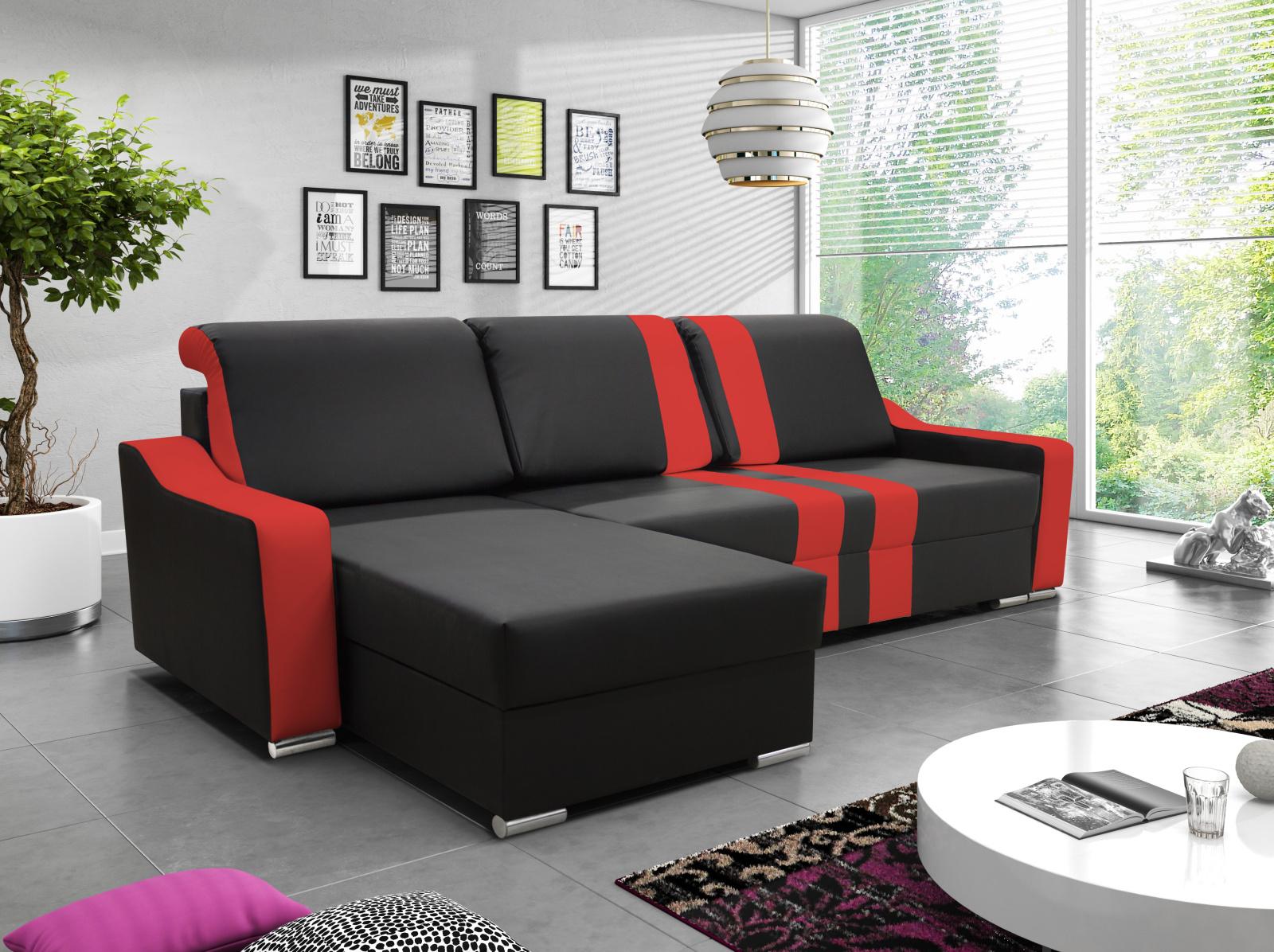 Smartshop Rohová sedačka COMO 2, černá ekokůže/červená ekokůže