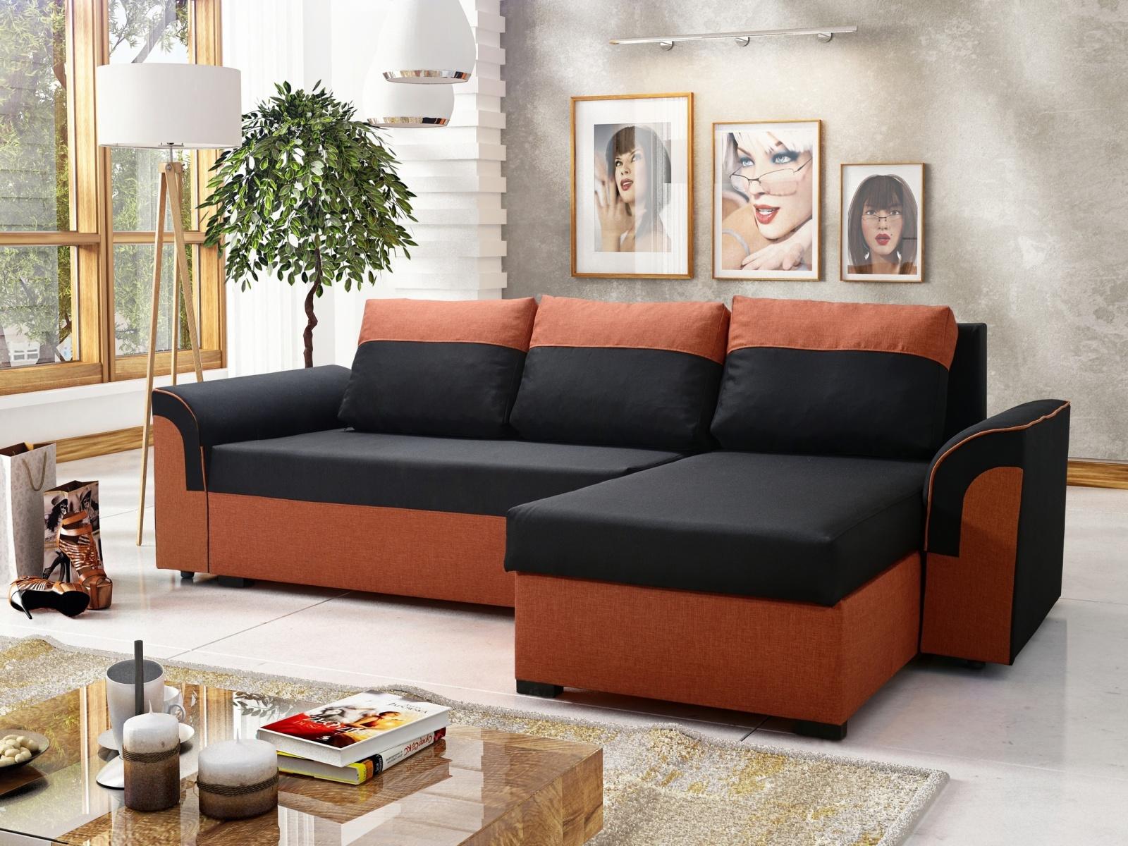 Rohová sedačka LUKA 1, černá látka/oranžová látka