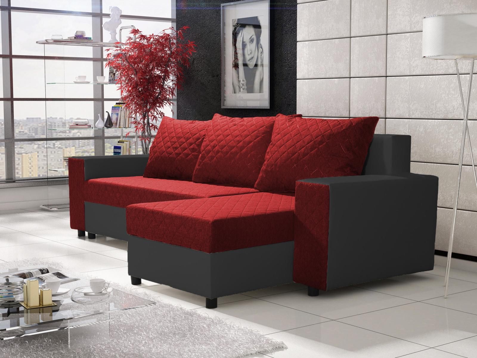 Smartshop Rohová sedačka FIESTA 6, červená látka/černá ekokůže
