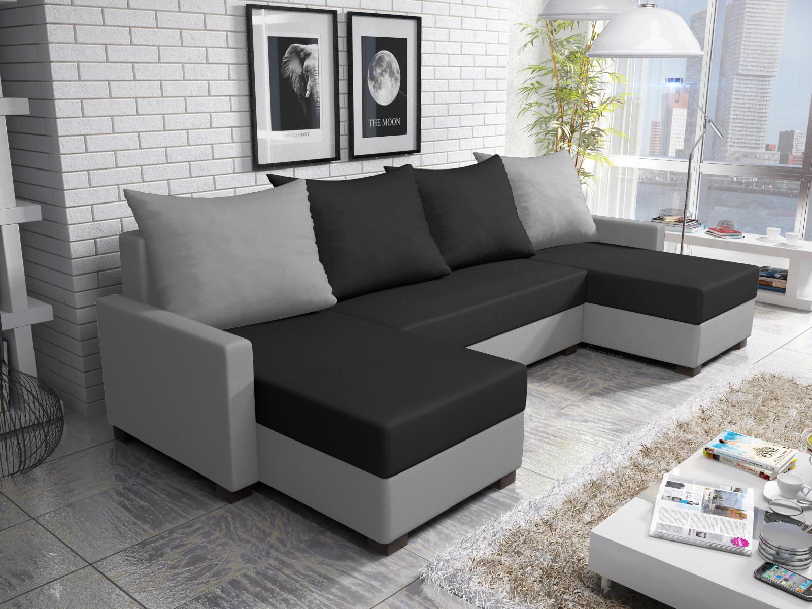 Smartshop Rohová sedačka FIESTA U 3, černá látka/šedá látka