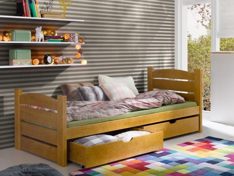 Postel SANDRA 90x200 cm, masiv borovice/barva:..