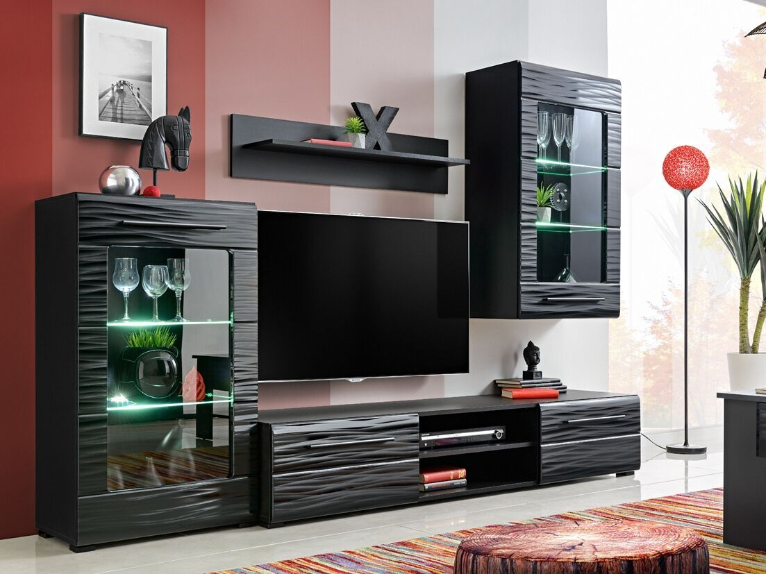 Smartshop Obývací stěna TIMBER 1, černá/sahara lesk