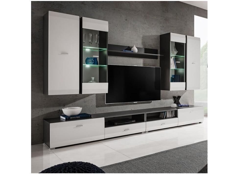 Smartshop CLIF obývací stěna, grafit/bílý mat