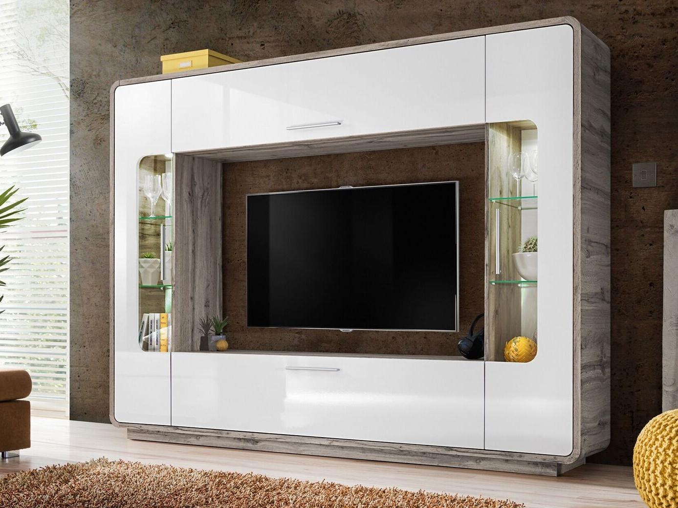 Smartshop SKANSO obývací stěna – multimediální centrum, dub wellington/bílý lesk