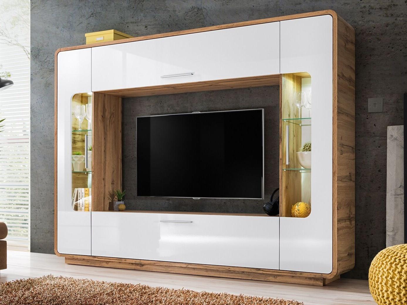 Smartshop SKANSO obývací stěna – multimediální centrum, dub wotan/bílý lesk