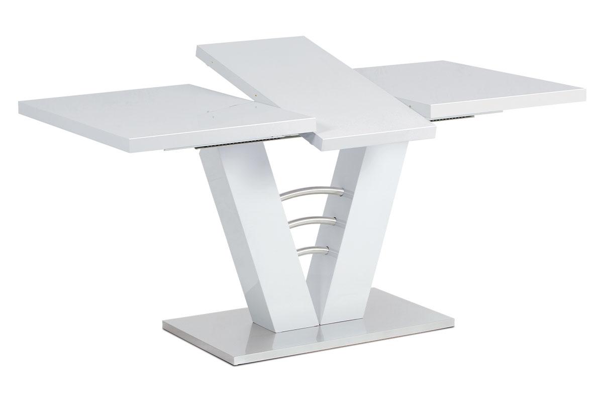 Rozkládací stůl HT-510 WT, bílý lesk/broušený nerez