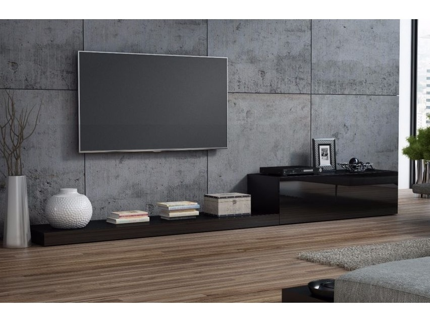 LIFE, televizní stolek RTV, černá/černý lesk