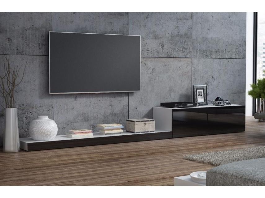 LIFE, televizní stolek RTV, bílá/černý lesk