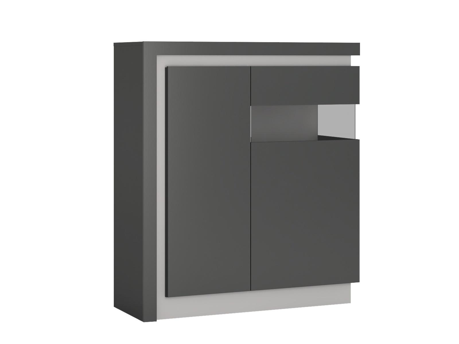 Extom LYON LYOV04P vitrína 2D pravá, šedé platinum/šedý lesk