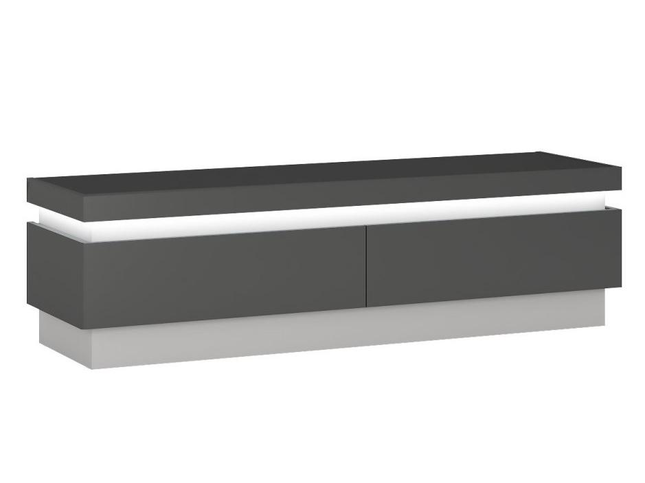 WISTER televizní stolek RTV 2S, šedé platinum/šedý lesk DOPRODEJ