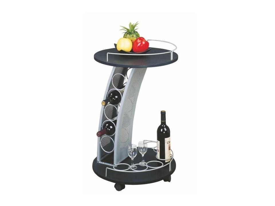 NUMFOR servírovací stolek, černá/stříbrná