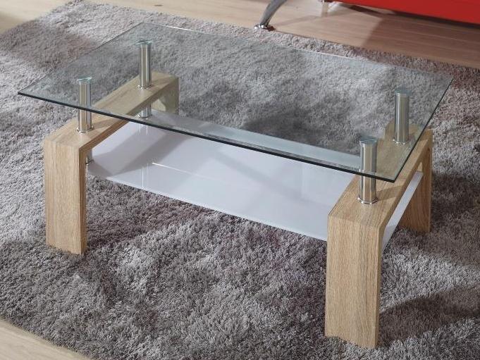 WOKAM konferenční stolek, sklo/dub sonoma