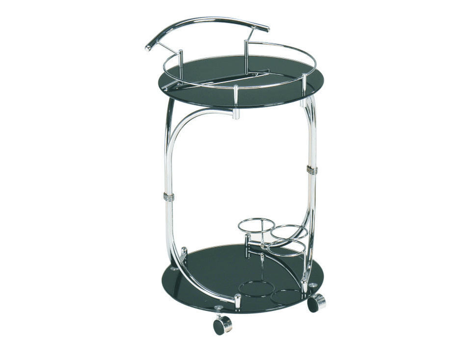 Tempo Kondela VESNA servírovací stolek, černé sklo/chrom