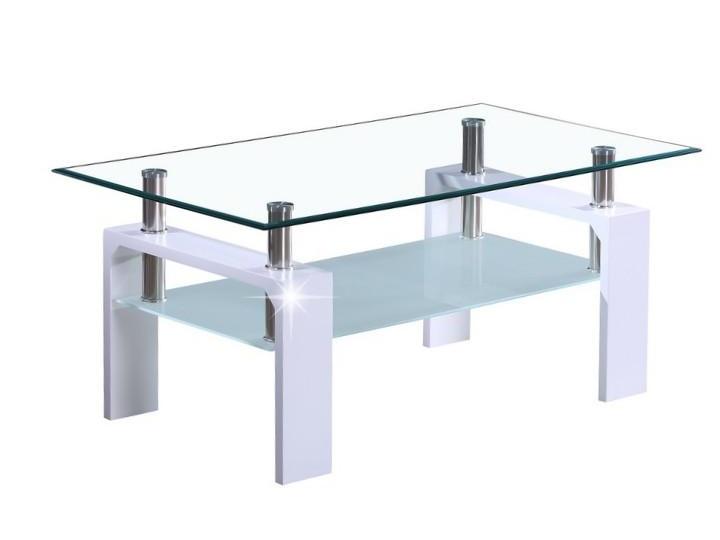 WOKAM konferenční stolek, sklo/bílý lesk