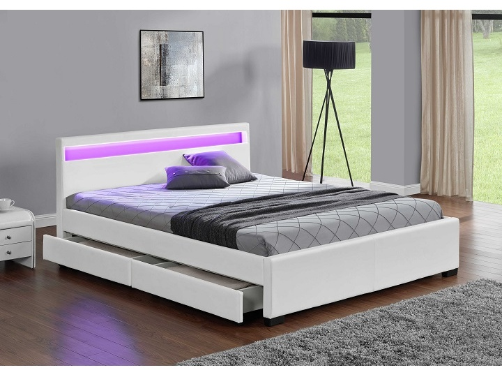 Tempo Kondela CLARETA čalouněná postel s roštem 180x200 cm, bílá