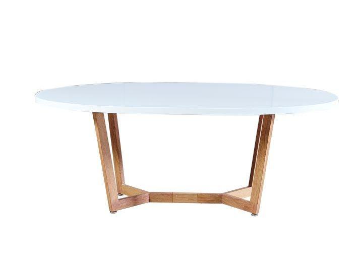 Tempo Kondela GLOSY konferenční stolek, bílý lesk/dub sonoma