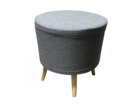 Tempo Kondela SAMIR taburet s úložným prostorem, šedá látka