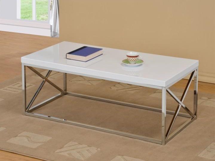 Tempo Kondela COLMAN konferenční stolek, bílý lesk/chrom