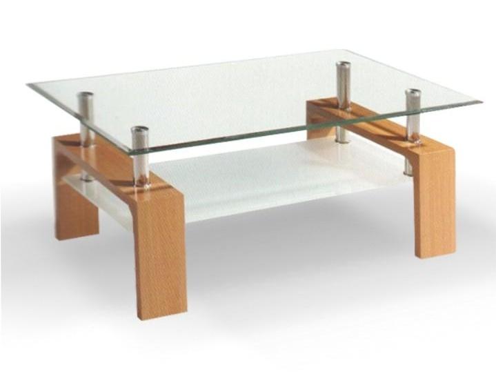 WOKAM konferenční stolek, sklo/buk