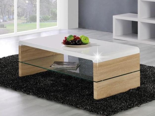 Smartshop KONTEX 2 konferenční stolek, bílý lesk/dub sonoma