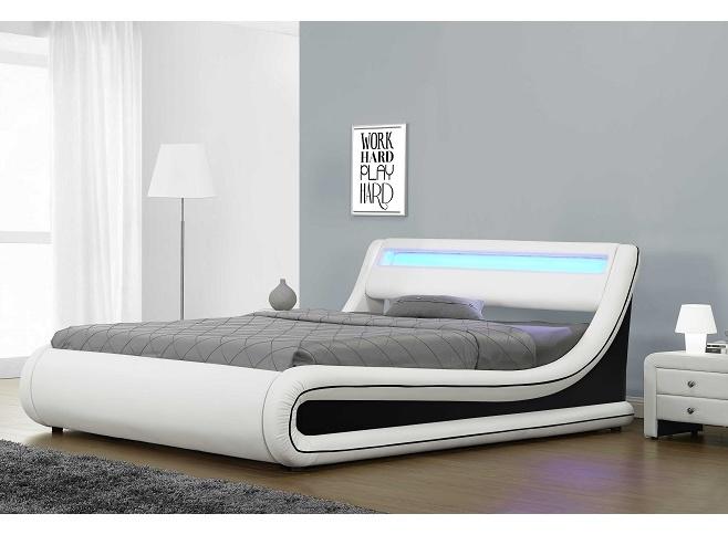 Tempo Kondela MANILA čalouněná postel s roštem a LED osvětlením 180x200 cm, bílá/černá