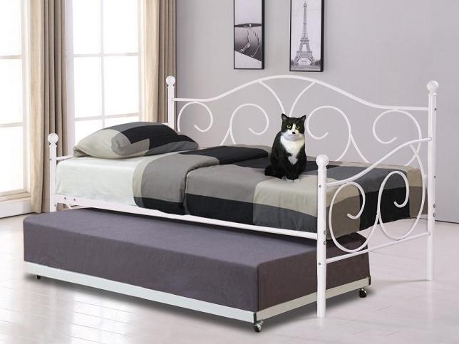 Tempo Kondela SAINA kovová postel s přistýlkou 90x200 cm, bílá