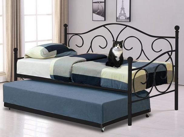 Tempo Kondela SAINA kovová postel s přistýlkou 90x200 cm, černá