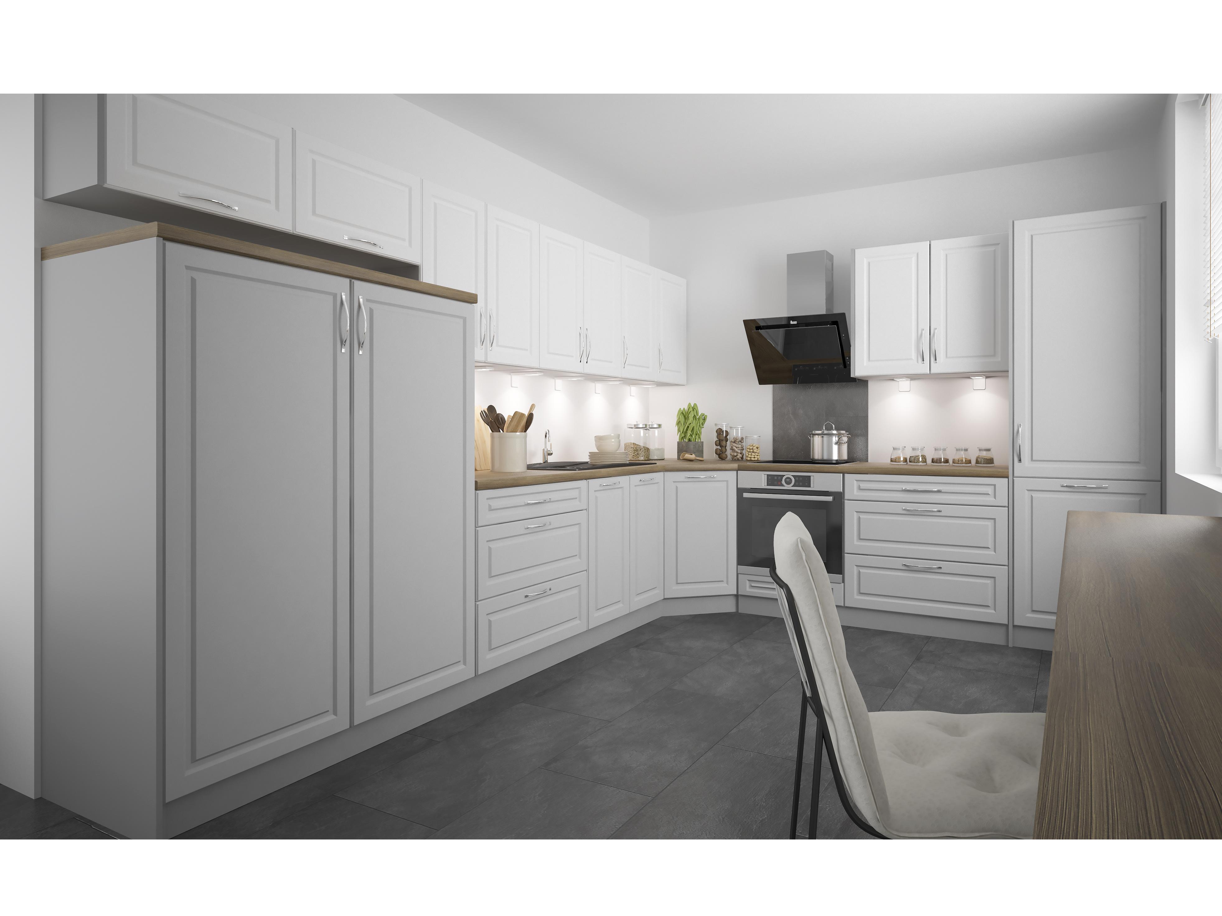 Extom Rohová kuchyně EMPORIUM 450/570 cm, korpus grey, dvířka light grey stone + white