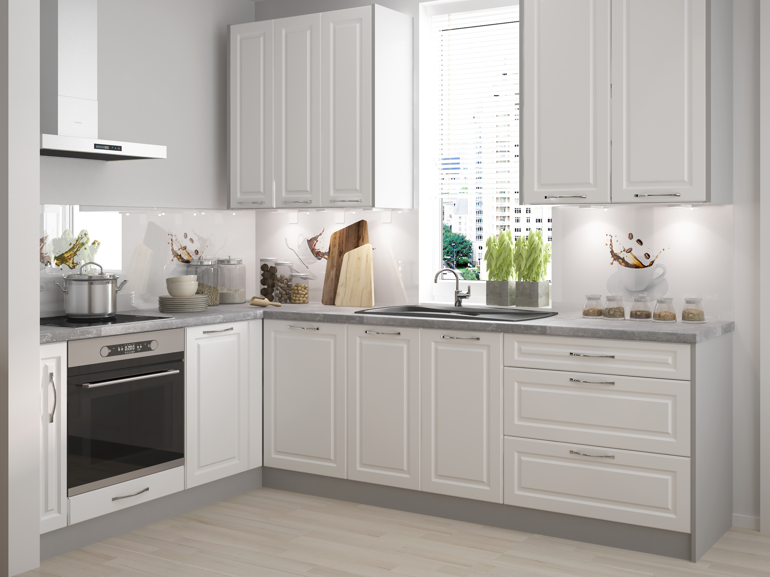 Extom Rohová kuchyně EMPORIUM 180/395 cm, korpus grey, dvířka white