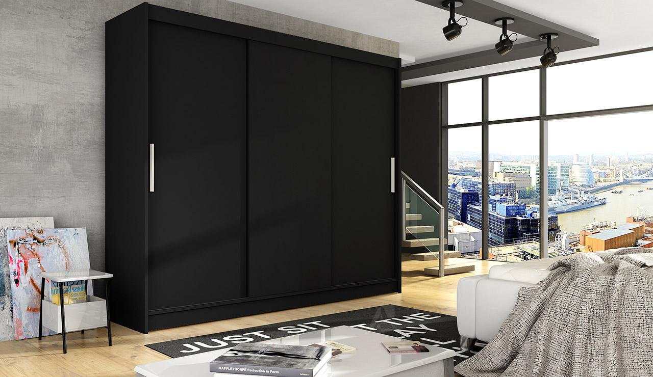 Šatní skříň ASTON II, černý mat