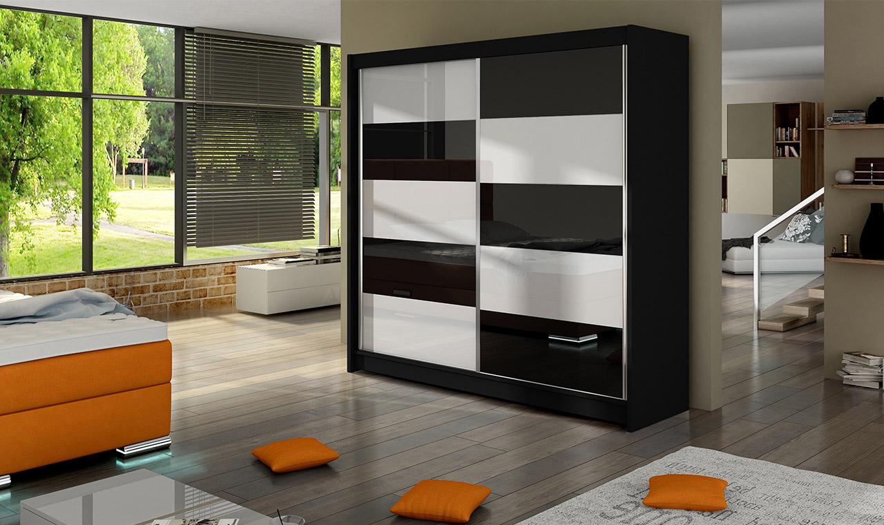 Smartshop Šatní skříň FALCO II, černý mat/bílé sklo+černé sklo