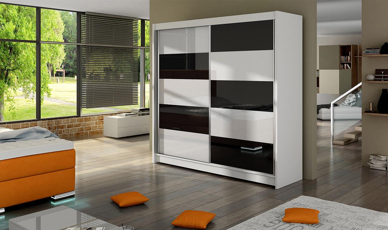 Smartshop Šatní skříň FALCO II, bílý mat/bílé sklo+černé sklo