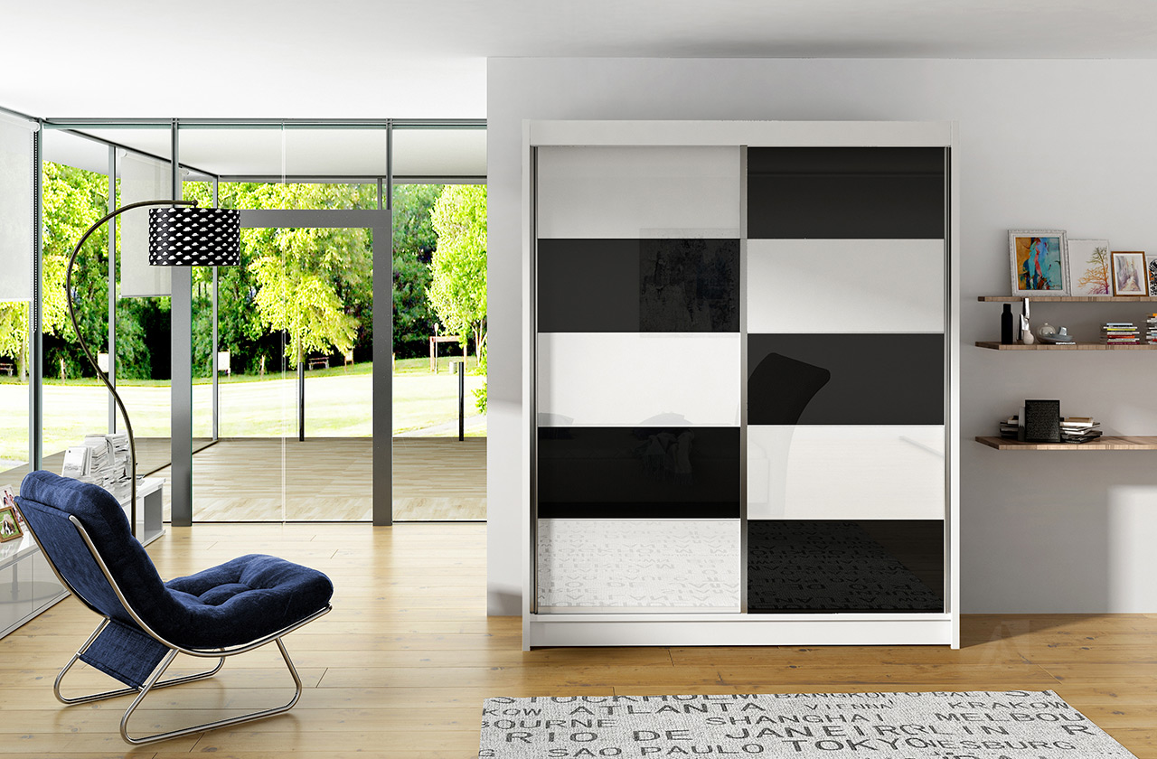 Šatní skříň VITO II, bílý mat/bílé sklo+černé sklo