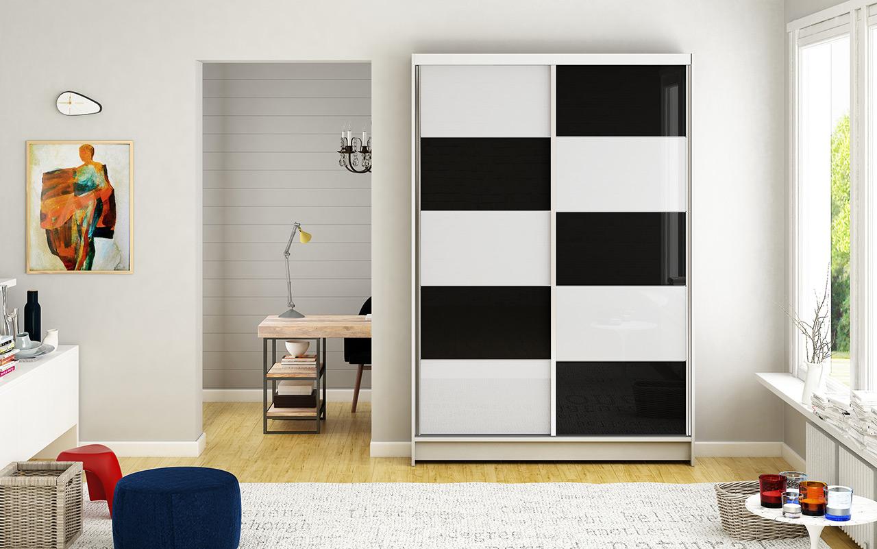 Smartshop Šatní skříň MONTANA II, bílý mat/bílé sklo+černé sklo