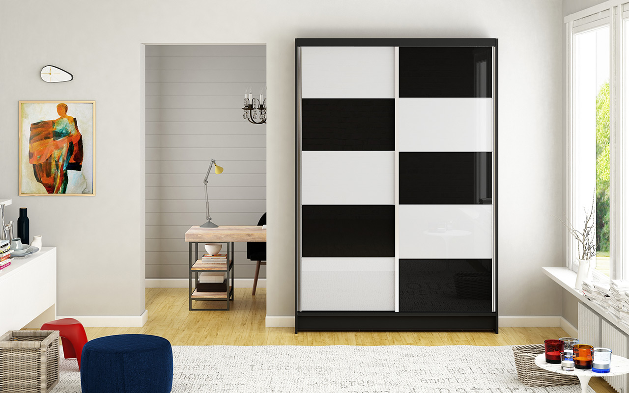 Smartshop Šatní skříň MONTANA II, černý mat/bílé sklo+černé sklo