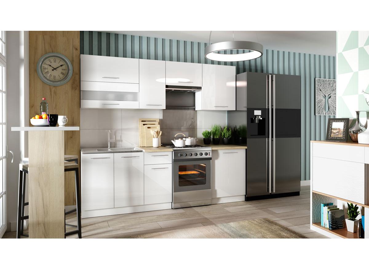 Kuchyně TIFFANY 180/240 cm, bílý lesk
