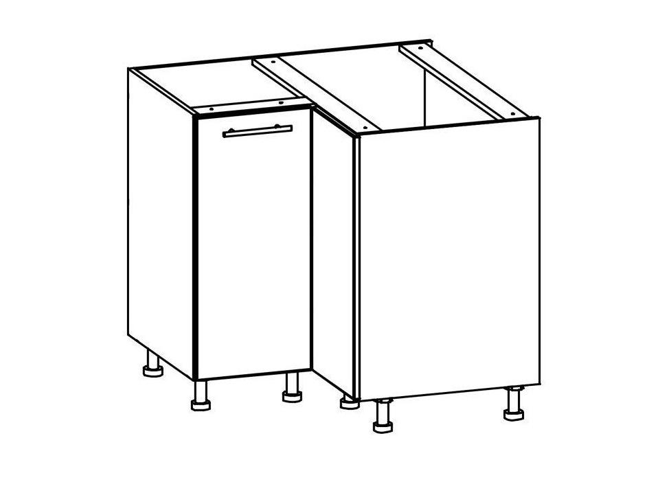 TIFFANY, dolní rohová skříňka D90NW, bílý lesk