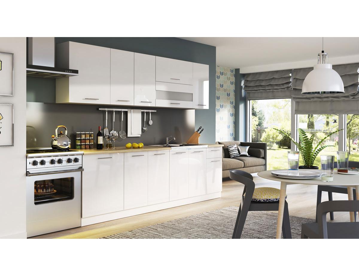 Kuchyně TIFFANY 260 cm, bílý lesk