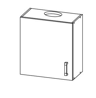 PLATE horní skříňka GOO 60/68 s odsávačem, levá, korpus šedá grenola, dvířka dub wenge