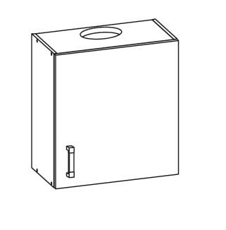 PLATE horní skříňka GOO 60/68 s odsávačem, pravá, korpus šedá grenola, dvířka dub bělený
