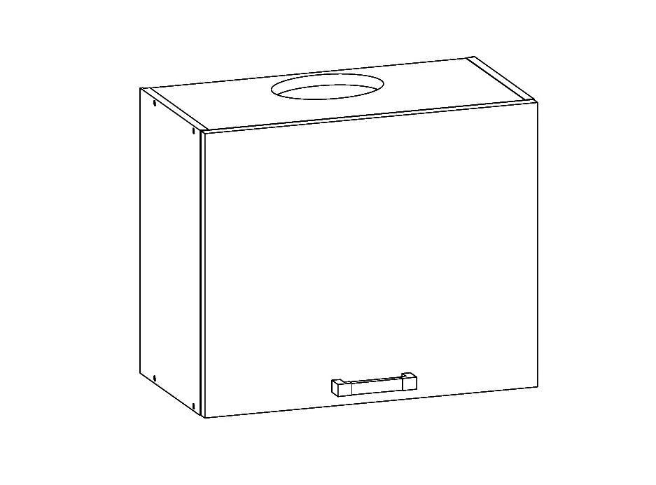 Smartshop DOMIN horní skříňka GOO 60/50 s odsávačem, korpus šedá grenola, dvířka bílá canadian