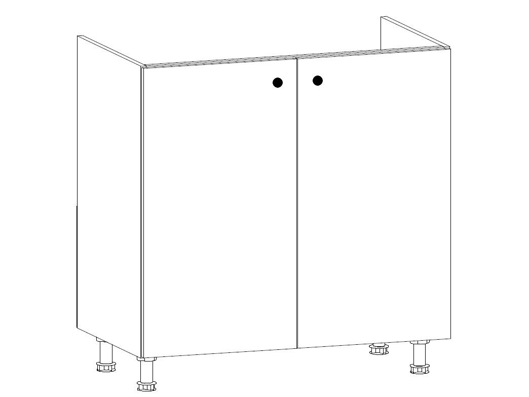 MISAEL dolní dřezová skříňka D80Z, korpus bílý, dvířka borovice andersen