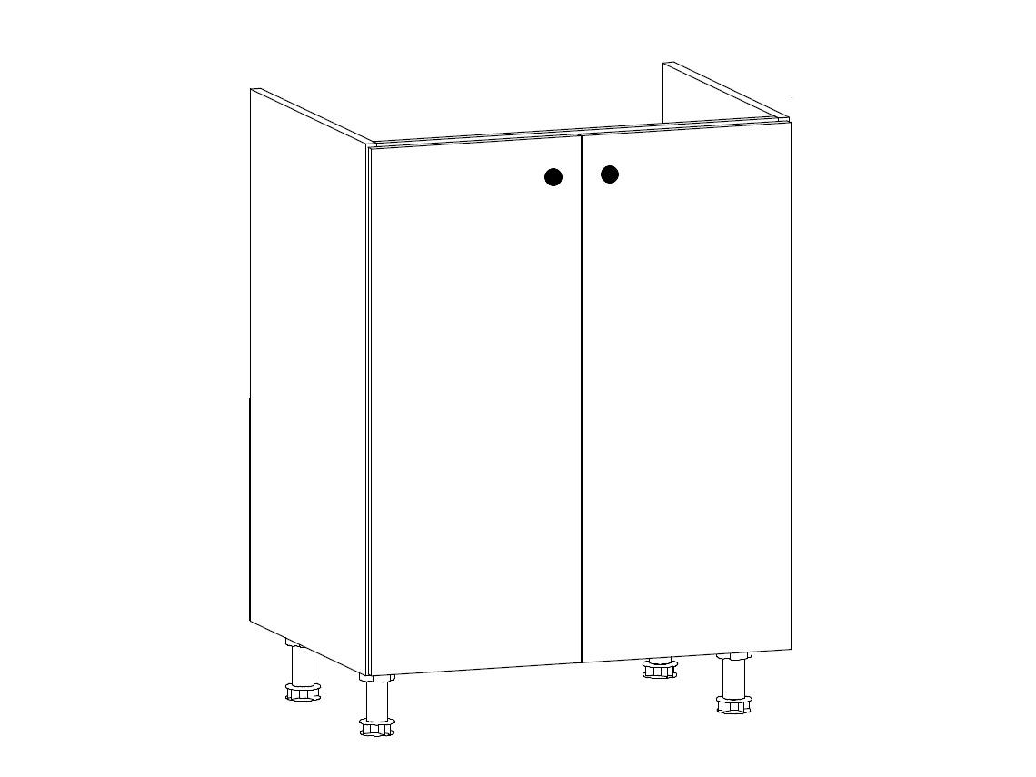 MISAEL dolní dřezová skříňka D60Z, korpus bílý, dvířka borovice andersen