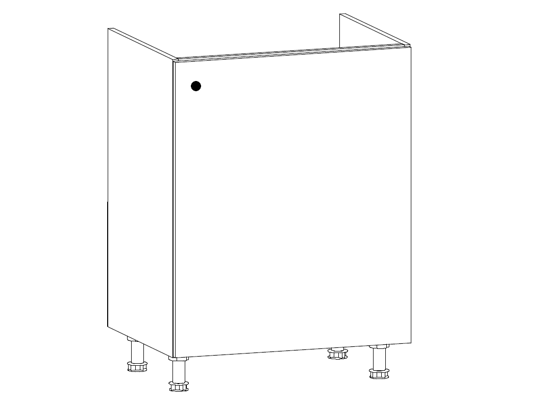 MISAEL dolní dřezová skříňka D60Z-P pravá, korpus bílý, dvířka borovice andersen
